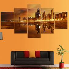 online buy wholesale beach scene pictures from china beach scene canvas pictures living room hd home decor modular poster 5 panel beach buiding night scene printed