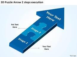 3d puzzle arrow 2 steps execution process flow diagram powerpoint