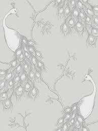 empress peacock bird charcoal silver white feature wallpaper