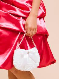 fancy rose purse for flower girls poly shantung flower dress