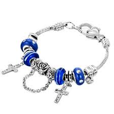 clasp bracelet charms images Clear crystal cross charms mom baby heart sapphire blue murano jpg