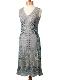 1920s reproduction flapper dresses silver beaded 20s style