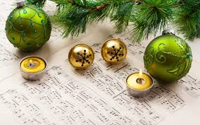 new year musical notes ornaments candles leaves