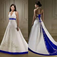 blue wedding dresses ivory and royal blue wedding dresses a line halter embroidery