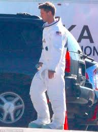 brad pitt wears astronaut suit on the set of ad astra daily mail