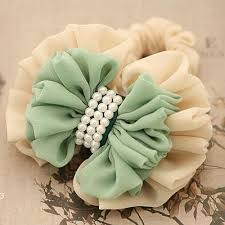 hair chiffon double colored large chiffon flower with pearls ponytail holder