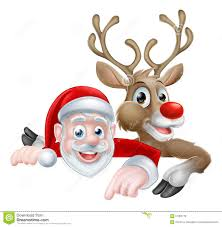 cartoon christmas santa and reindeer stock vector image 76889183