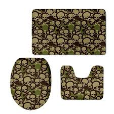 Camo Bathroom Rugs Hugsidea Cool Camo Skull Print Bathroom Rug Set Contour Mat Lid