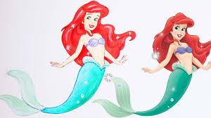 mermaid ariel drawing coloring draw color
