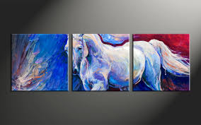 Home Decor Paintings by 3 Piece Horse Wildlife Blue Canvas Wall Art