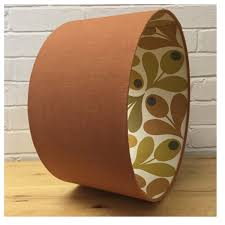 burnt orange linen fabric u0026 orla kiely acorn spot lining lampshade