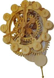 a wood gear clock with a unique drive mechanism 34 steps with