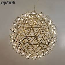 Sphere Ceiling Light Gold Chrome Stainless Steel Firework Pendant Light Modern