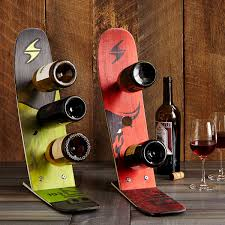 snow ski wine rack reclaimed skis bottle racks uncommongoods