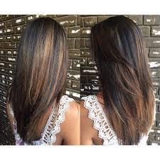 long straight chocolate brown hair with cinnamon balayage and