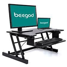 sit and stand desk platform amazon com standing desk beegod sit stand workstation desk riser