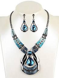 vintage necklace earrings images Necklaces blue vintage water drop shape faux sapphire necklace jpg