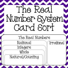 real numbers system card sort rational irrational integers