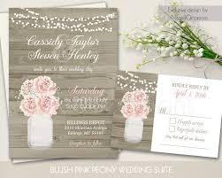 summer wedding invitations rustic jar wedding invitations country blush pink peony