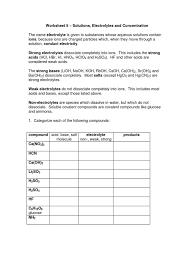 worksheet 5 dissociation chemistry molar concentration