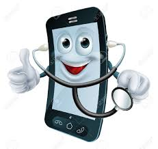 cartoon illustration of a phone doctor character holding a