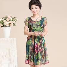 aliexpress com buy middle age women dress summer chiffon pleated