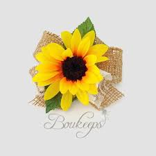 sunflower corsage sunflower corsage with burlap bow and ivory lace sunflower