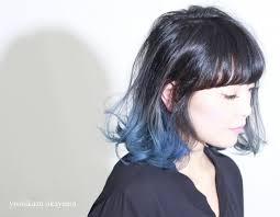 long bob with dipped ends hair blue dip dye pinteres