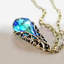 blue crystal necklace swarovski images Ocean blue crystal necklace aqua blue pendant necklace etsy jpg