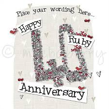 personalised ruby wedding cards 40th wedding anniversary cards
