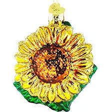 world sunflower glass blown ornament