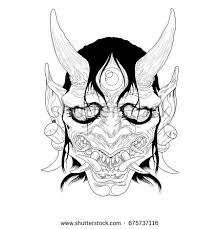 traditional female japanese demon tattoo design stock illustration
