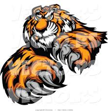 vector of an alpha cartoon tiger mascot grinning and staring with