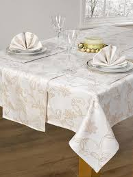 Christmas Table Cloths by Decoration Fascinating Emboidered Table Cover Glistening Holly