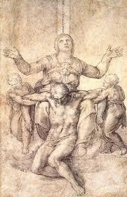 michelangelo buonarroti sketch of david with his sling art