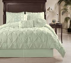 sydney 7pcs textured pucd pleat pintuck duvet cover set king mint green in home