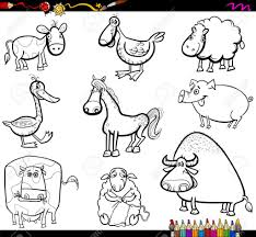 coloring book cartoon illustration of farm animals
