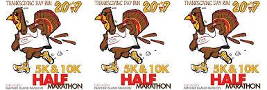 thanksgiving day run half marathon 10k 5k 1 mile run panther