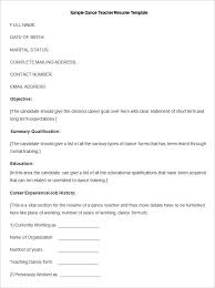 Educator Resume Example by Dance Teacher Resume Sample Best Resume Collection