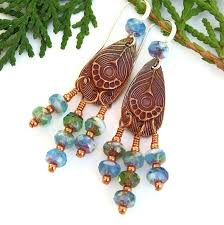 Chandelier Beaded Earrings White Bead Peacock Feather Chandelier Earrings Aqua Green Boho Handmade