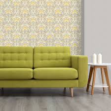 Grey Wallpaper Living Room Uk Crown Flora Nouveau Wallpaper M1195