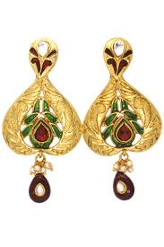 designer earrings fashionable green color copper fancy designer earrings from