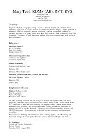 Sonographer Resume Mary Teed Resume 1