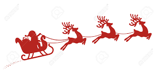 santa sleigh reindeer red silhouette royalty free cliparts