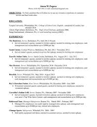 Waitress Sample Resume by Cocktail Waitress Job Description For Resume Free Resume Example