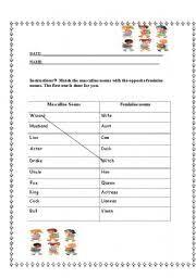 english teaching worksheets gender of nouns