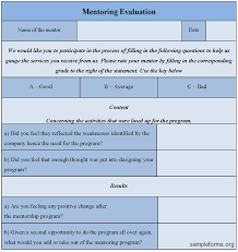 mentoring template mentoring evaluation form sle mentoring evaluation form