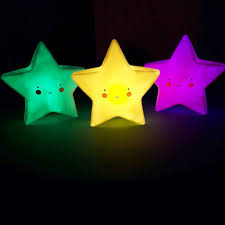 Baby Lamp Cute Star Smile Face Soft Vinyl Led Night Light Toy For Baby Kids