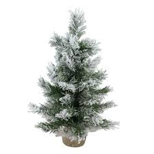 flocked tree 18 flocked pine artificial christmas tree in burlap base unlit