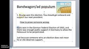 logical fallacy 2 bandwagon ad populum youtube